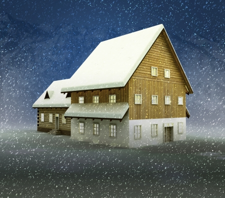 alighted: Idyllic hut and window shiny light at night snowfall illustration Stock Photo