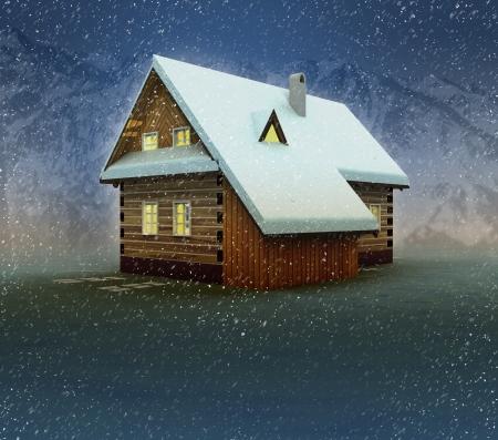 alighted: Seasonal mountain hut and window lighting at night snowfall illustration Stock Photo
