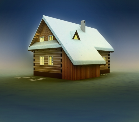 timbered: Seasonal hut and window lighting at night illustration