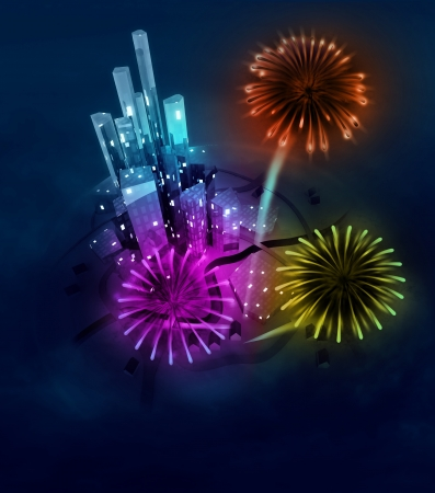 three firework explosions sabove modern city illustration illustration