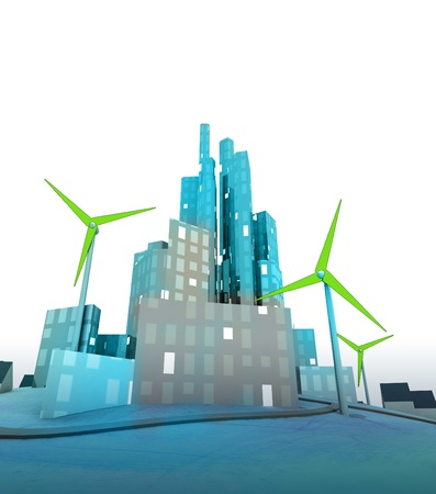 green windmills in modern green ecological city illustration illustration