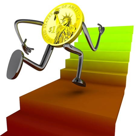 dollar coin robot run for better results illustration rendering illustration