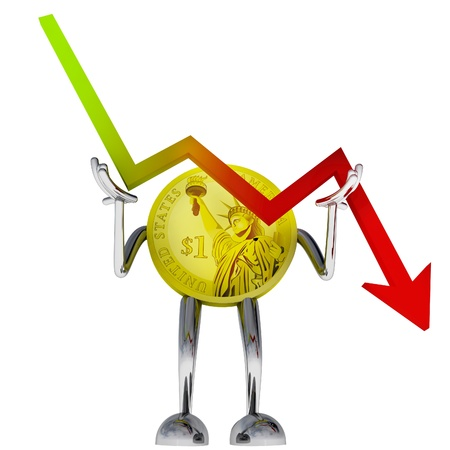 dollar coin robot stop descending stock graph illustration rendering illustration