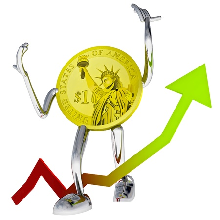 dollar coin robot show better investment chace illustration rendering Stock Illustration - 17910729