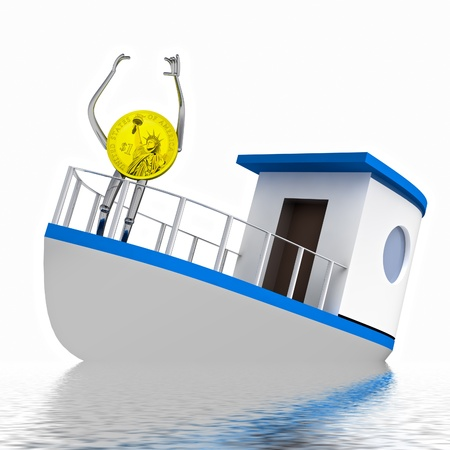 sinking: dollar coin on the sinking boat rendering illustration