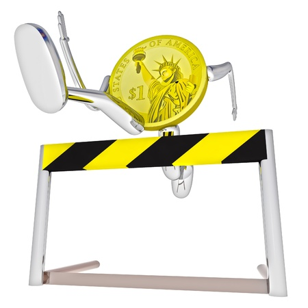 dollar coin robot jumping above hurdle down view rendering illustration Stock Illustration - 17910697