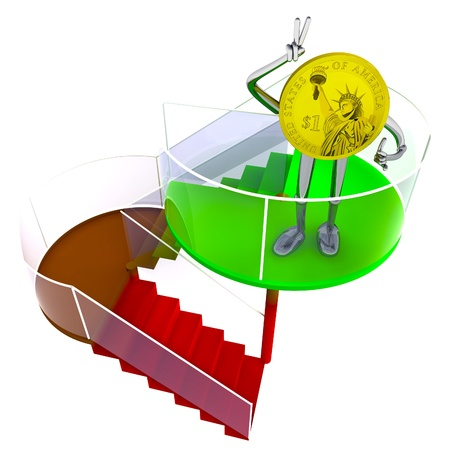 dollar coin robot victor standing at the top of stairs rendering illustration Stock Illustration - 17910726