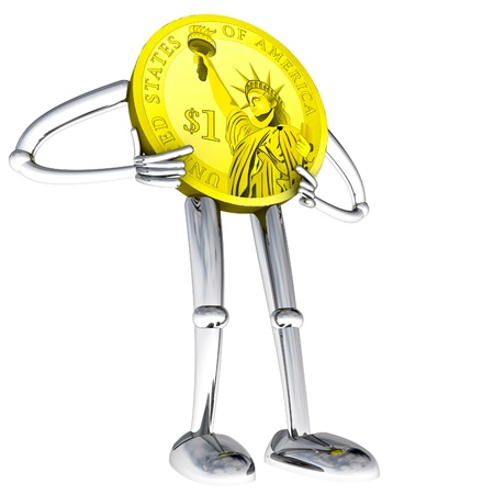 dollar coin robot figure standing pose rendering illustration Stock Illustration - 17910716