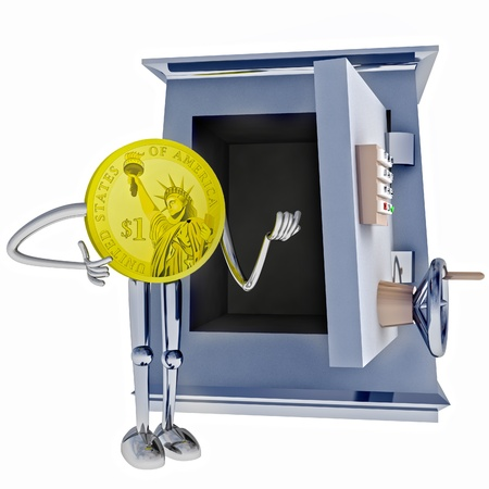 dollar coin standing next to open rendering illustration illustration