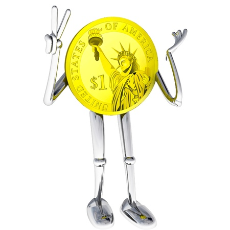 dollar coin robot victor showing joyrendering illustration Stock Illustration - 17910717