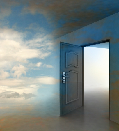 dreams: doorway passage leading to paradise illustration Stock Photo