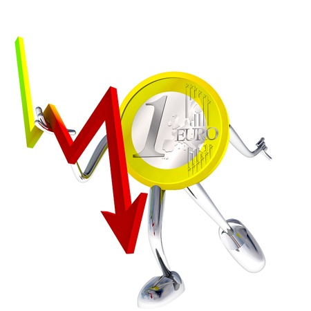 descending: euro coin robot stops descending graph illustration rendering