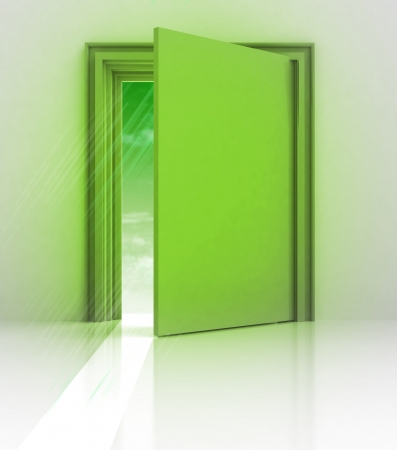 knowlage: green frame doorway with flare illustration