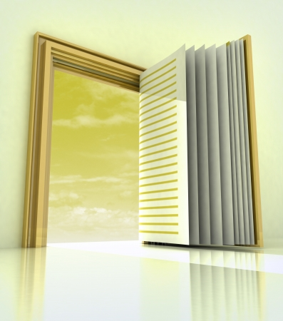 golden doorway frame open like book illustration