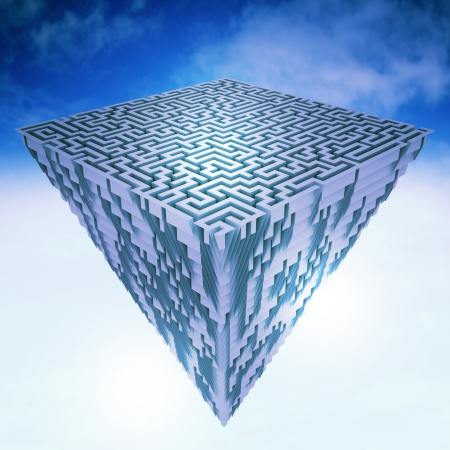 pyramid peak: pyramidal flying  piece of land as maze structure illustration