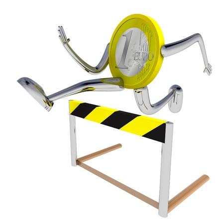 hurdle: euro coin robot athlete jumping above hurdle rendering illustration Stock Photo
