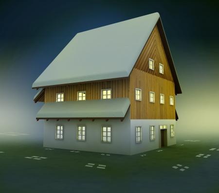 alighted: Idyllic mountain cottage window lighting at night illustration