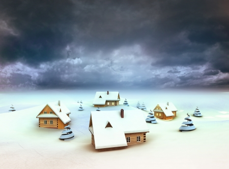 Winter village resort dark sky evening illustration illustration