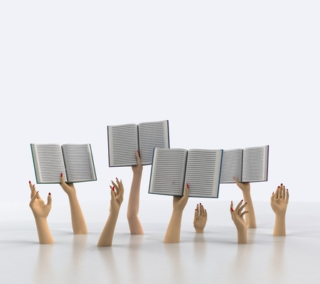 knowlage: arms holding books above floor, blank background illustration