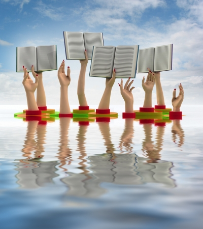 knowlage: arms holding books above water line illustration Stock Photo