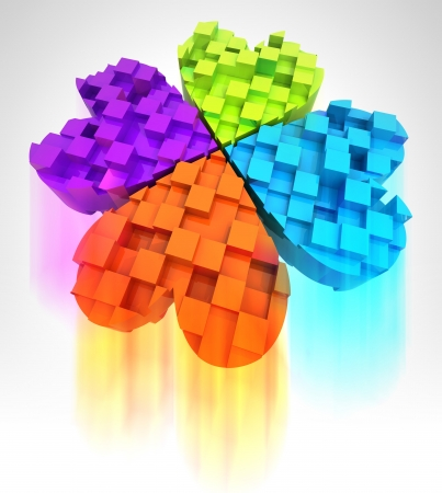 colored cloverleaf in three dimensional with blur illustration Stock Illustration - 17910836