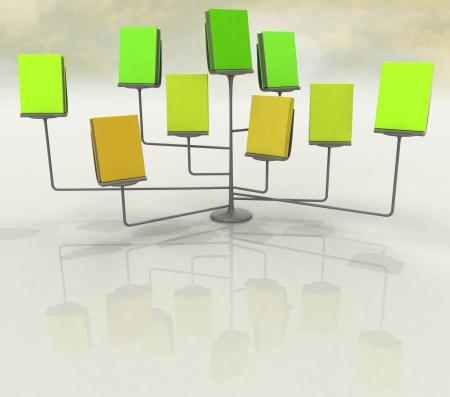 chrome stand with several green orange books illustration illustration