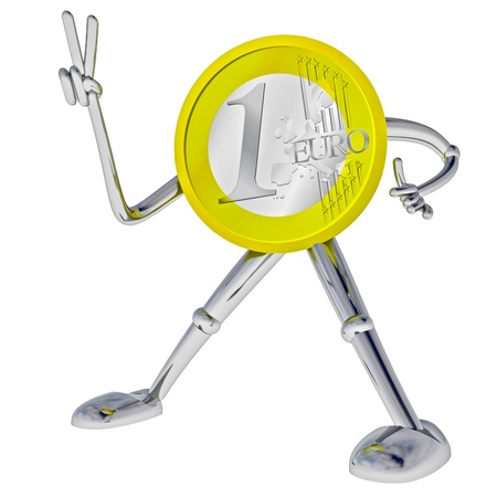 victor: euro coin robot victor showing victory rendering illustration