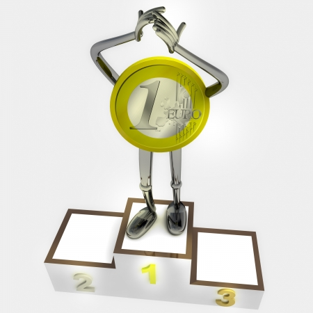 euro coin robot as winner standing on podium ceremony rendering illustration illustration