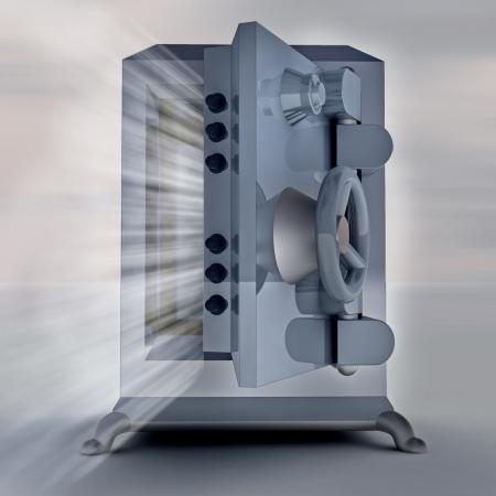 heavy reinforced shaded metallic opened bank vault render illustration illustration