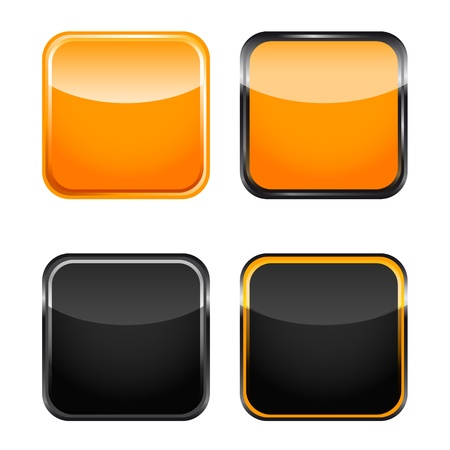 rounded square icon orange black  Vector