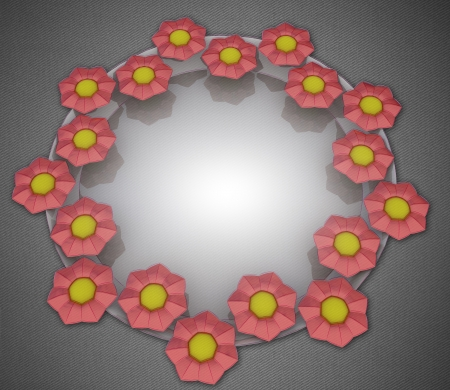 orange blossom: orange blossom elliptical card motive on grey linen illustration Stock Photo