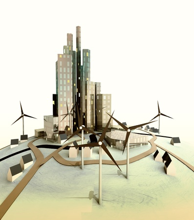 evening light over isolated modern cityscape with windmills illustration illustration