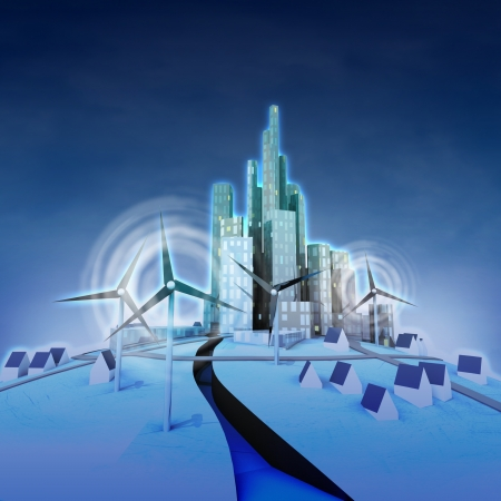 ecological city powered with windmills perspective view illustration illustration