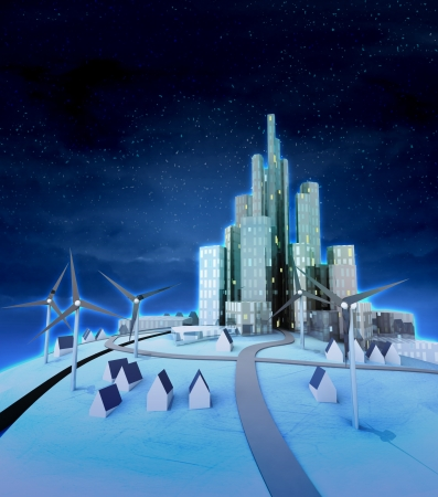 wind turbines with modern city at night illustration illustration