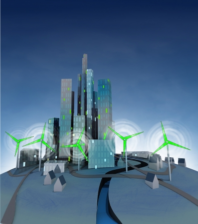 rotation of several windmills which are powered green ecological city  illustration illustration