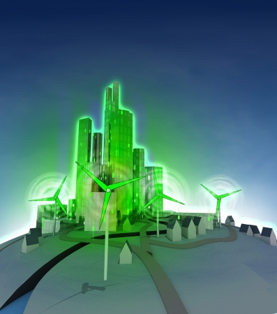 rotation of windmill and shining green ecological city  illustration illustration