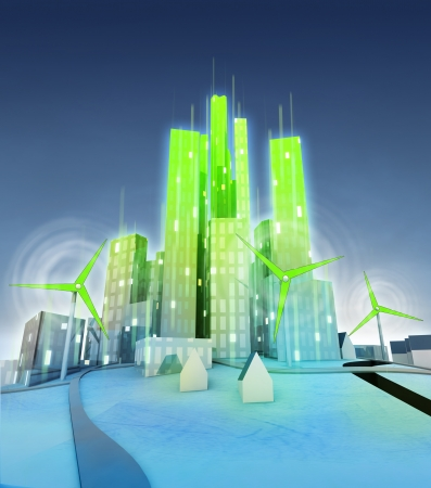 rotating windmills powered modern green ecological city  illustration illustration