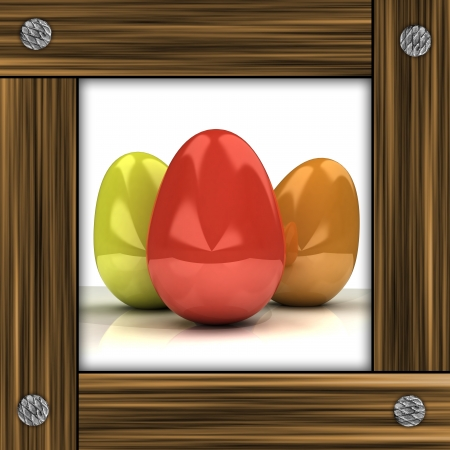 timbered: easter card with colorful eggs in grey timbered frame illustration