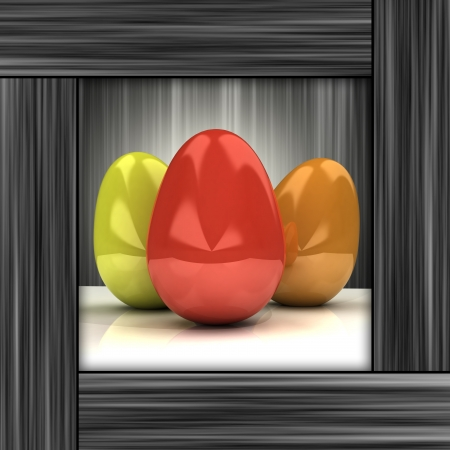 timbered: easter card with colorful eggs in grey wooden frame illustration