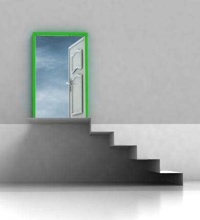 staircase passage with green framed door illustration illustration