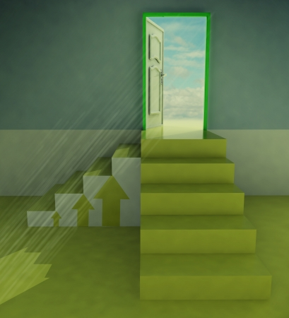 yellow two staircases doorway with arrows and flare illustration illustration