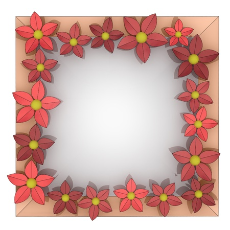 beautiful isolated red blossom square frame illustration illustration