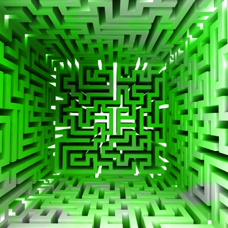 green dimensional maze block inside look illustration