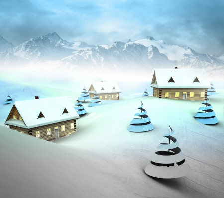 Mountain village resort with high mountain landscape illustration Stock Illustration - 17979403