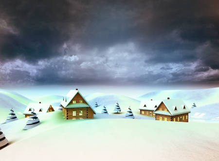 village in the mountains dark sky evening illustration Stock Illustration - 17979409