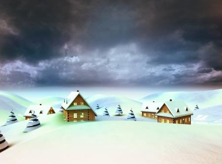 village in the mountains dark sky evening illustration Stock Illustration - 17979409