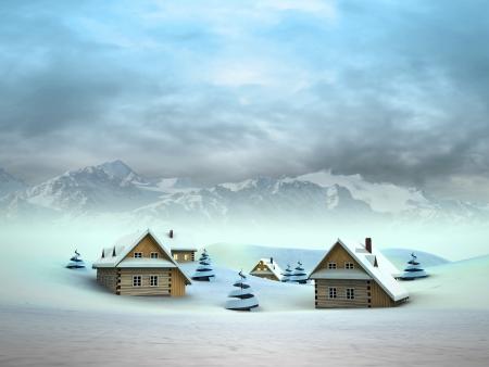 Winter village with high mountain landscape illustration Stock Illustration - 17979425