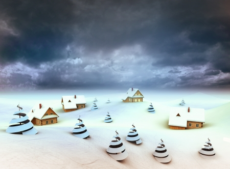 Winter village perspective dark sky evening illustration Stock Illustration - 17979392