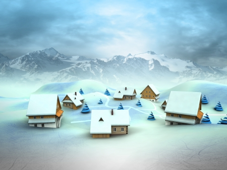 Winter village landscape with high mountain landscape illustration illustration