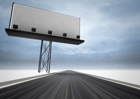 writable: highway with writable area billboard and dark sky illustration Stock Photo